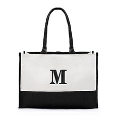 Large Personalized Color Block Canvas Fabric Tote Bag- Black