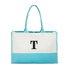 Large Personalized Color Block Canvas Fabric Tote Bag- Aqua Blue