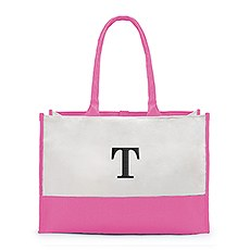 Large Personalized Color Block Canvas Fabric Tote Bag- Hot Pink