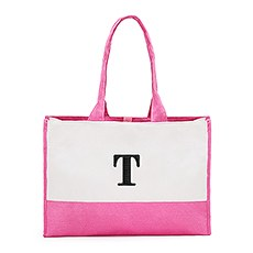 Personalized Color Block Canvas Tote Bag- Pink