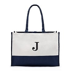 Large Personalized Color Block Canvas Fabric Tote Bag- Navy