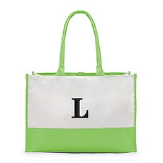 Large Personalized Color Block Canvas Fabric Tote Bag- Green