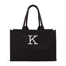 Large Personalized City Cotton Canvas Fabric Tote Bag- Black