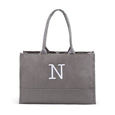 Large Personalized City Cotton Canvas Fabric Tote Bag- Grey