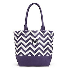 Personalized Initial Chevron Cotton Canvas Tote Bag- Grape