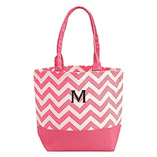 Large Personalized Chevron Cotton Canvas Fabric Tote Bag- Pink