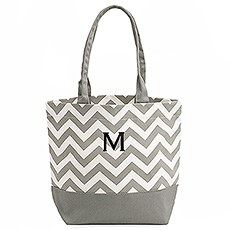 Large Personalized Chevron Cotton Canvas Fabric Tote Bag- Grey