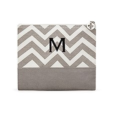 Large Personalized Chevron Makeup Bag- Grey