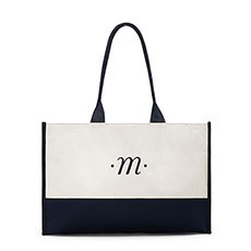 Personalized Classic Script Initial Color Block Canvas Fabric Tote Bag- Navy