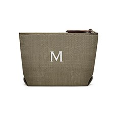 Women's Personalized Napa Linen Makeup Bag- Olive Green