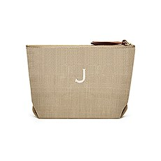 Women's Personalized Napa Linen Makeup Bag- Tan