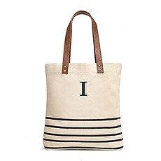 Personalized Large Annie Stripe Canvas Fabric Tote Bag- Black