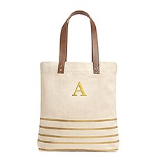 Personalized Large Annie Stripe Canvas Fabric Tote Bag- Metallic Gold
