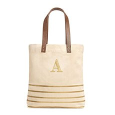 Personalized Annie Stripe Large Canvas Tote Bag - Metallic Gold