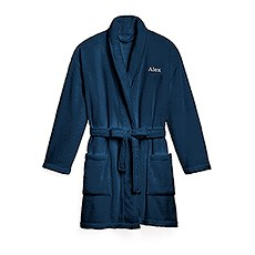 Women's Personalized Embroidered Fleece Robe with Pockets - Navy