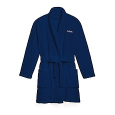 Women's Personalized Embroidered Fleece Robe with Pockets- Navy
