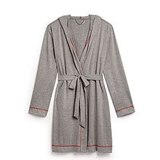 Saturday Hooded Lounge Robe - Gray With Red Stitching