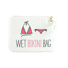 Waterproof Wet Bikini and Swimsuit Bag- White and Pink