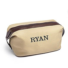 Personalized Men's Travel Toiletry Bag - Light Brown Canvas