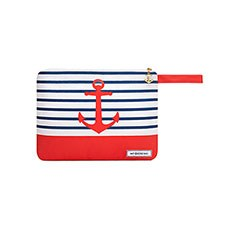 Canvas Wet Bikini and Swimsuit Bag - Red Anchor