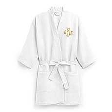 Women's Personalized Embroidered Waffle Spa Robe- White