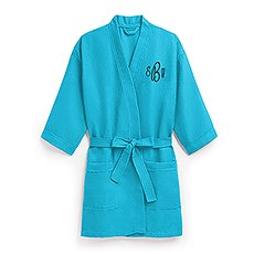 Women's Personalized Embroidered Waffle Spa Robe- Turquoise / Blue