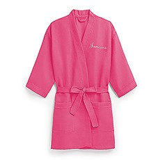 Women's Personalized Embroidered Waffle Spa Robe- Fuchsia / Hot Pink