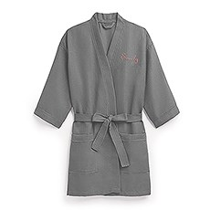 Women's Personalized Embroidered Waffle Spa Robe- Grey