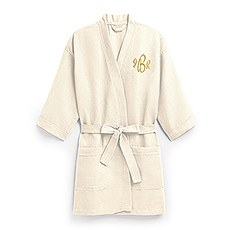 Women's Personalized Embroidered Waffle Spa Robe- Ivory / Beige