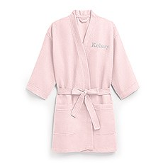 Women's Personalized Embroidered Waffle Spa Robe- Blush