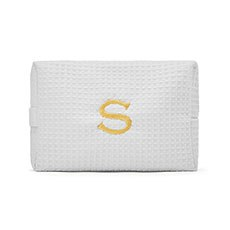 Women's Large Personalized Cotton Waffle Makeup Bag- White