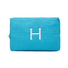Women's Large Personalized Cotton Waffle Makeup Bag- Turquoise Blue