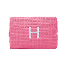 Women's Large Personalized Cotton Waffle Makeup Bag- Hot Pink