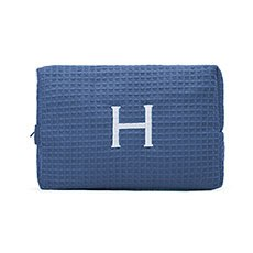 Women's Large Personalized Cotton Waffle Makeup Bag- Navy Blue