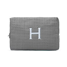 Women's Large Personalized Cotton Waffle Makeup Bag- Grey