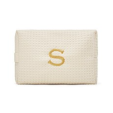 Women's Large Personalized Cotton Waffle Makeup Bag- Ivory