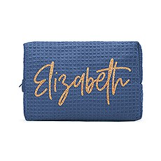 Women's Personalized Cotton Waffle Makeup Bag - Script Font