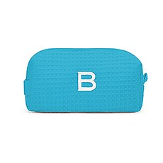 Personalized Small Cotton Waffle Makeup Bag-Turquoise Blue