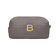 Personalized Small Cotton Waffle Makeup Bag- Gray