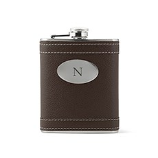 Custom Brown Leather Wrapped Hip Flask