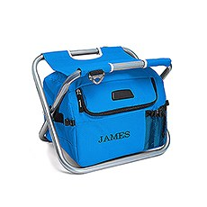 Personalized Sky Blue Folding Cooler Chair – Monogram Embroidered