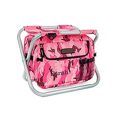 Personalized Pink Camouflage Folding Cooler Chair – Monogram Embroidered