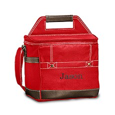 Personalized Red Insulated Cooler Bag – Monogram Embroidered