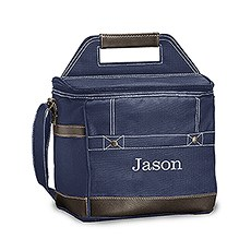 Personalized Dark Blue Insulated Cooler Bag – Monogram Embroidered