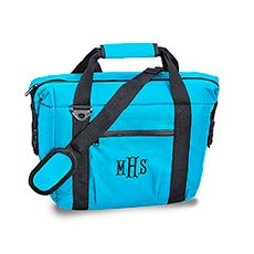 Personalized Aqua Blue Insulated Cooler Bag – Monogram Embroidered
