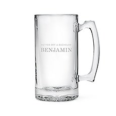 Etched Glass 25 Oz Beer Mug - Better Off A Bachelor