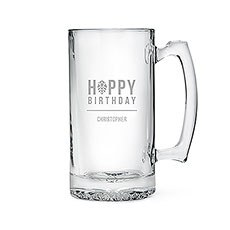 Etched Glass 25 Oz Beer Mug - Happy Birthday - Beer Hops