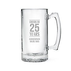 Etched Glass 25 Oz Beer Mug - Cheers To The Years