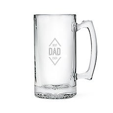 Personalized Large Glass Beer Mug – Best Dad Ever Engraving
