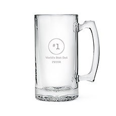 Etched Glass 25 Oz Beer Mug - #1 Dad